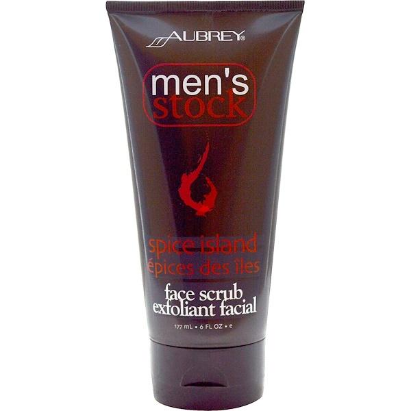 Aubrey Organics, Men's Stock, Face Scrub Exfoliant Facial, Spice Island, 6 fl oz (177 ml) (Discontinued Item)
