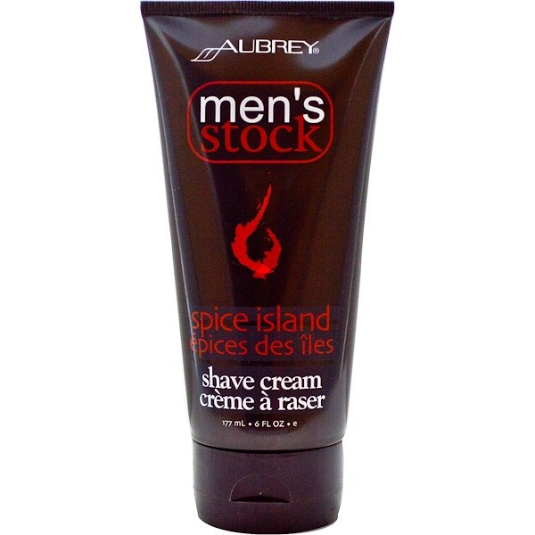 Aubrey Organics, Men's Stock, Shave Cream, Spice Island, 6 fl oz (177 ml) (Discontinued Item)