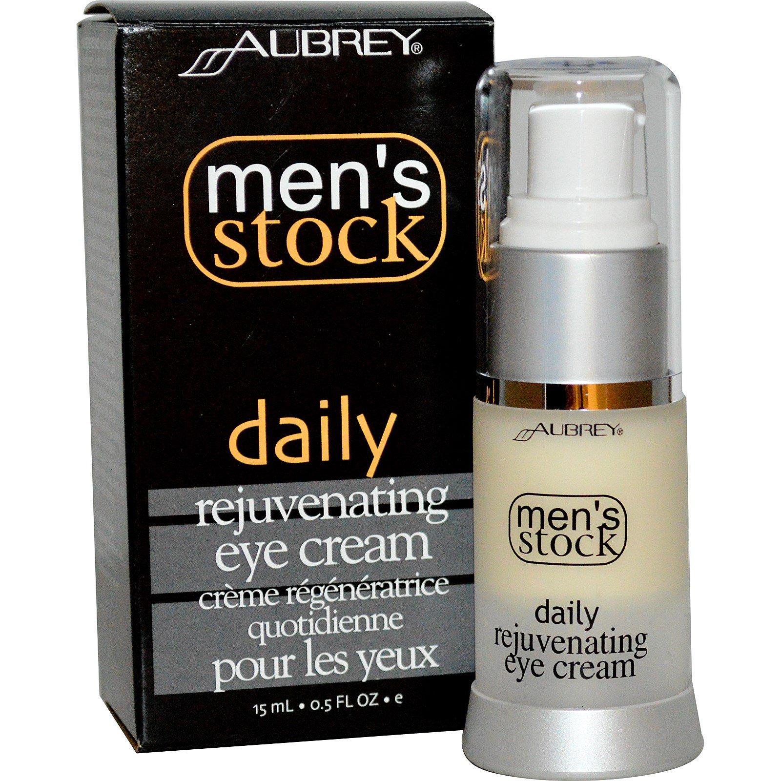 Aubrey Organics, Men's Stock, Омолаживающий крем под глаза, 0,5 жидких унций (15 мл)