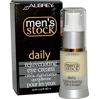 Aubrey Organics, Men's Stock, Daily Rejuvenating Eye Cream, 0.5 fl oz (15 ml)