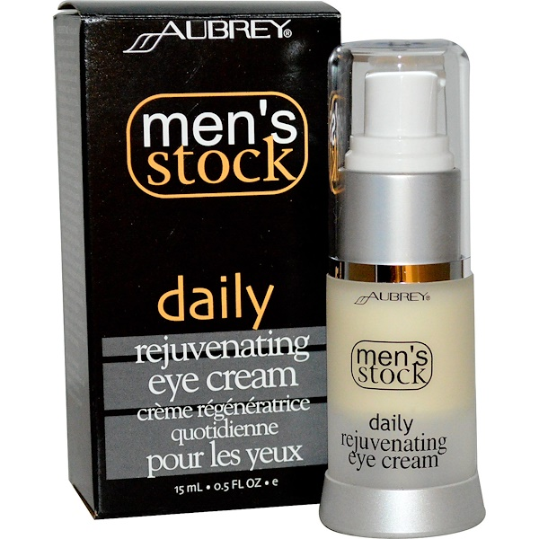 Aubrey Organics, Men's Stock, Daily Rejuvenating Eye Cream, 0.5 fl oz (15 ml) (Discontinued Item)