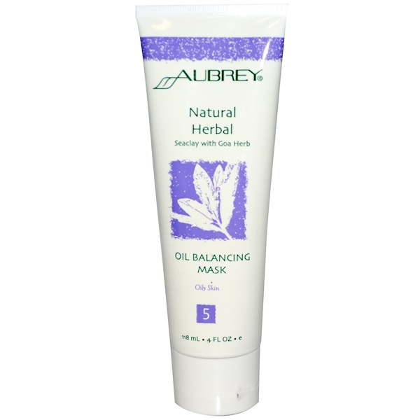 Aubrey Organics, Natural Herbal Oil Balancing Mask, Seaclay with Goa Herb, 4 fl oz (118 ml) (Discontinued Item)