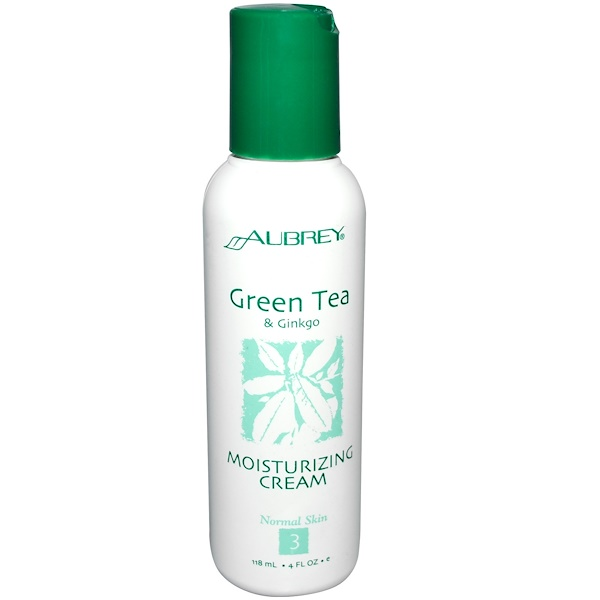 Aubrey Organics, Moisturizing Cream, Green Tea & Ginkgo, 4 fl oz (118 ml) (Discontinued Item)