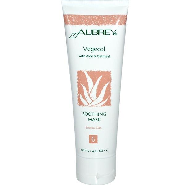 Aubrey Organics, Vegecol, Soothing Mask, with Aloe & Oatmeal, 4 fl oz (118 ml) (Discontinued Item)