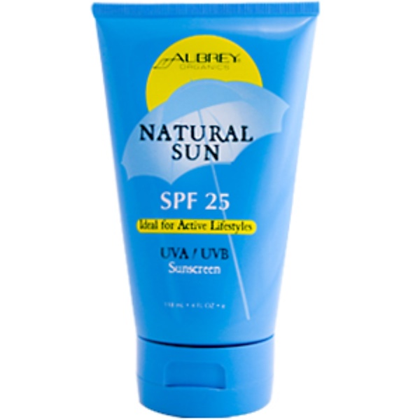 Aubrey Organics, Natural Sun SPF 25, UVA/UVB Sunscreen, 4 fl oz (118 ml) (Discontinued Item)