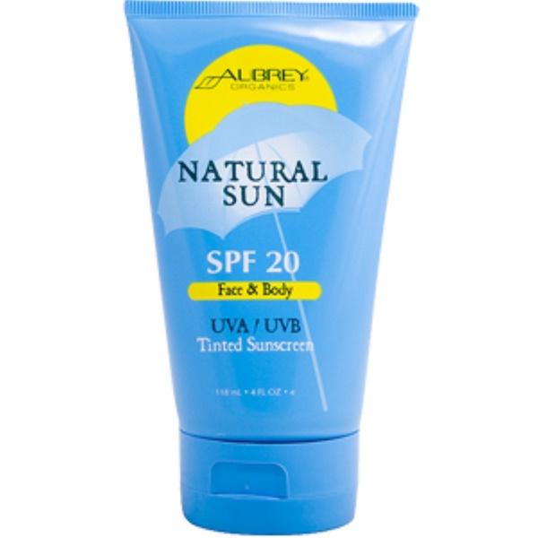 Aubrey Organics, Natural Sun, SPF 20, Face & Body, UVA/UVB Tinted Sunscreen, 4 fl oz (118 ml) (Discontinued Item)