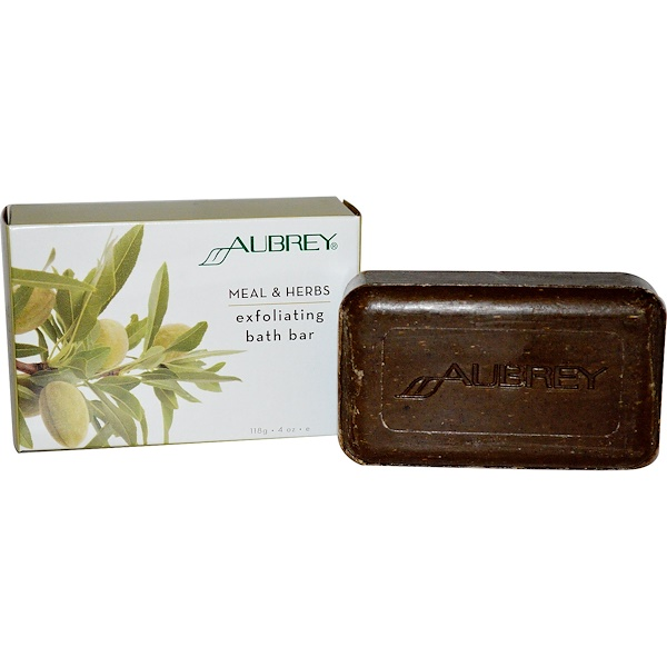Aubrey Organics, Exfoliating Bath Bar, Meal & Herbs, 4 oz (118 g) (Discontinued Item)