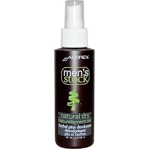 Обри Органикс, Men's Stock, Natural Dry, Herbal Pine Deodorant, 4 fl oz (118 ml) отзывы покупателей