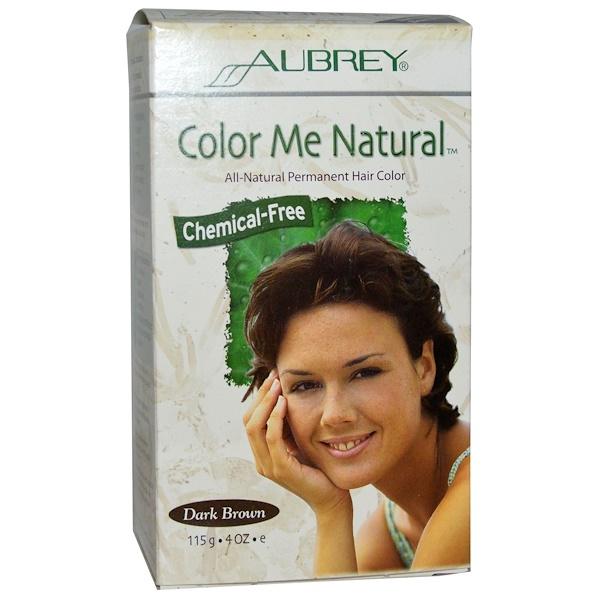 Aubrey Organics, Color Me Natural, 100% Natural Permanent Hair Color, Dark Brown, 4 oz (115 g) (Discontinued Item)
