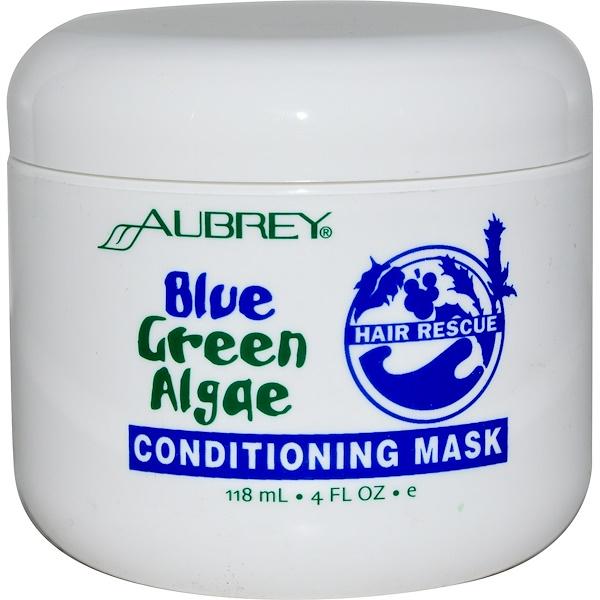 Aubrey Organics, オーブリーオーガニクス, ヘアレスキュー,コンディショニングマスク, ブルーグリーンアルジー, 4 fl oz (118 ml) (Discontinued Item)