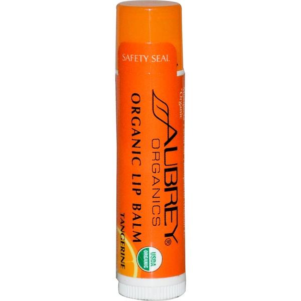 Aubrey Organics, Organic Lip Balm, Tangerine, .15 oz (4.25 g) (Discontinued Item)