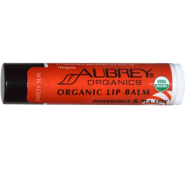 Aubrey Organics, Organic Lip Balm, Peppermint & Tea Tree, .15 oz (4.25 g)