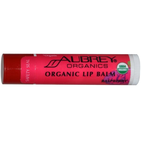 Aubrey Organics, Organic Lip Balm, Raspberry, .15 oz (4.25 g) (Discontinued Item)