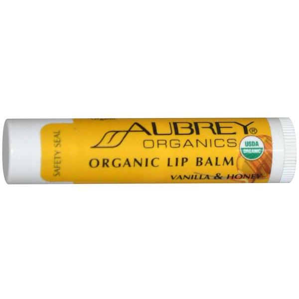 Aubrey Organics, Bálsamo de Labios Orgánico, Vainilla y Miel, .15 oz (4.25 g)