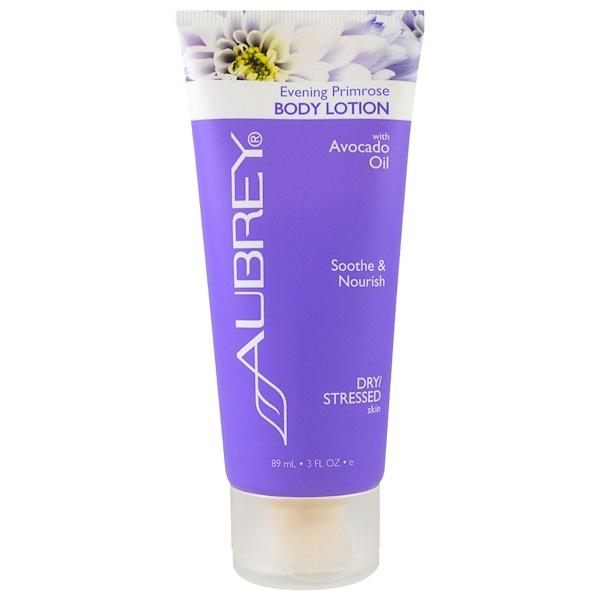 Aubrey Organics, Body Lotion, Dry Stressed Skin, Evening Primrose, 3 fl oz (89 ml) (Discontinued Item)