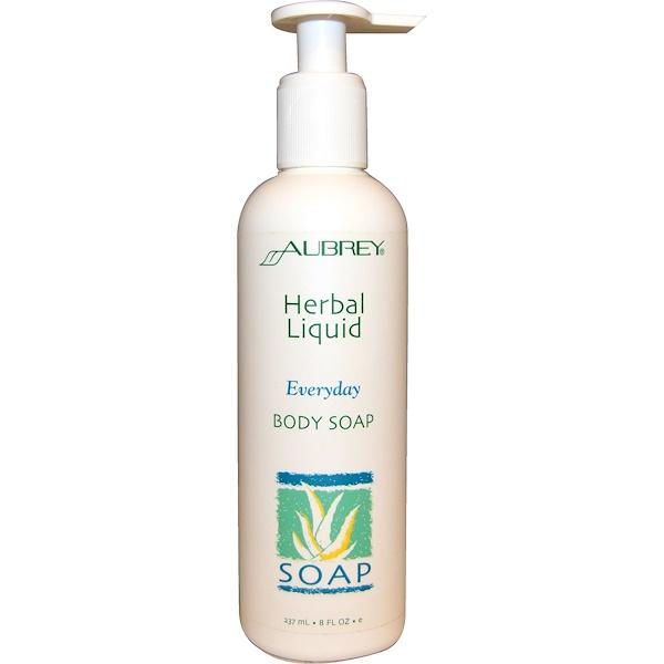 Aubrey Organics, Everyday Body Soap, Herbal Liquid, 8 fl oz (237 ml) (Discontinued Item)