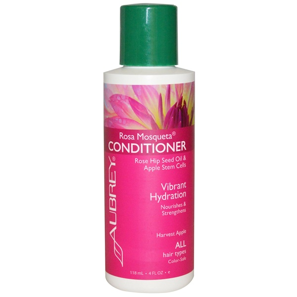 Aubrey Organics, Rosa Mosqueta Conditioner, Vibrant Hydration, Harvest Apple, All Hair Types, 4 fl oz (118 ml) (Discontinued Item)