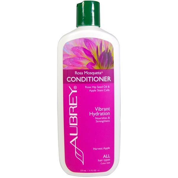 Aubrey Organics, ローザモスクエータ コンディショナー、生き生きした潤い, 全てのヘアタイプに, 11液量オンス(325 ml)