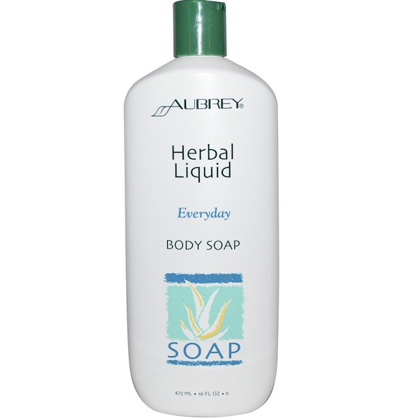 Aubrey Organics, Herbal Liquid, Everyday Body Soap, 16 fl oz (473 ml) (Discontinued Item)