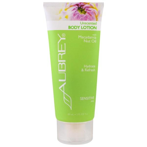 Aubrey Organics, Body Lotion, Sensitive Skin, Unscented, 3 fl oz (89 ml) (Discontinued Item)