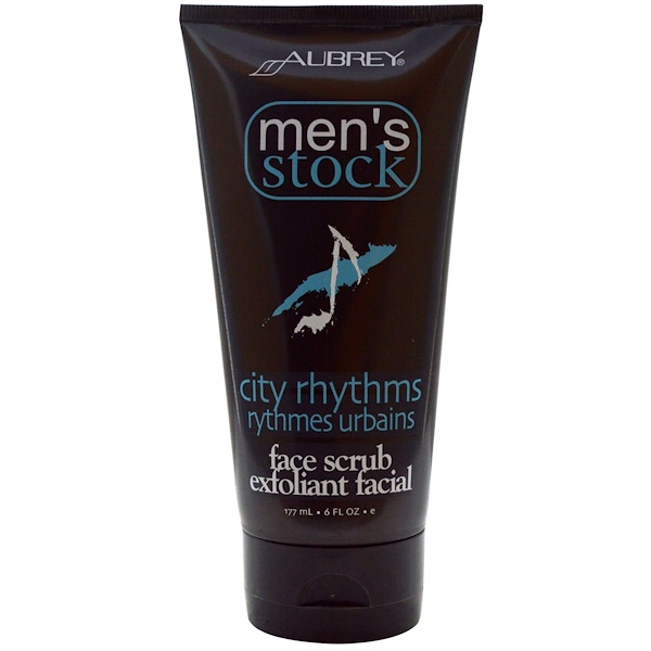 Aubrey Organics, Men's Stock, Face Scrub Exfoliant Facial, City Rhythms, 6 fl oz (177 ml) (Discontinued Item)