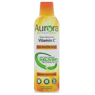 Aurora Nutrascience, Mega-Liposomal Vitamin C, Organic Fruit Flavor, 3000 mg, 16 fl oz (480 ml)