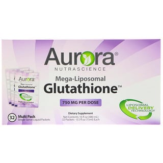 Aurora Nutrascience, Mega-Liposomal Glutathione, 750 mg, 32 Single-Serve Liquid Packets, 0.5 fl oz (15 ml) Each