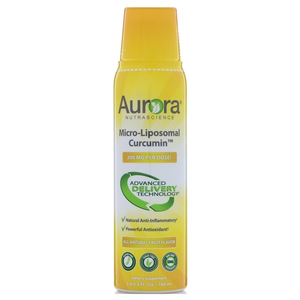 Aurora Nutrascience, Micro-Liposomal Curcumin, All-Natural Fruit Flavor, 200 mg, 5.4 fl oz (160 ml) (Discontinued Item)
