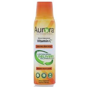Aurora Nutrascience, Micro-Liposomal Vitamin C, Organic Fruit Flavor, 1,000 mg, 5.4 fl oz (160 ml) отзывы покупателей