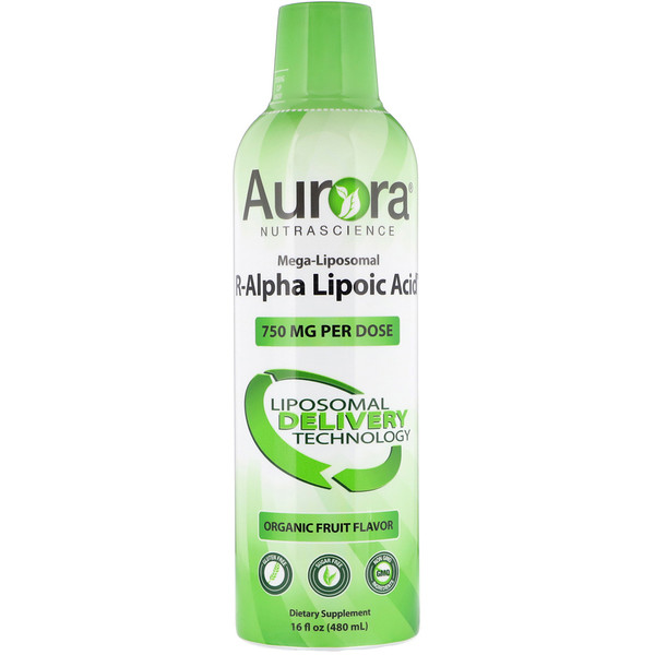 Aurora Nutrascience, Mega-Liposomal R-Alpha Lipoic Acid, Organic Fruit Flavor, 750 mg, 16 fl oz (480 ml) (Discontinued Item)