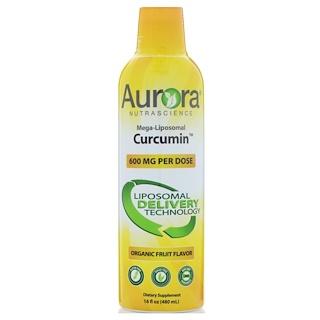 Aurora Nutrascience, Curcumina Mega-Lipossomal, Sabor de Frutas Orgânicas, 600 mg, 480 ml