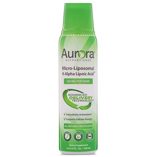 Aurora Nutrascience, Micro-Liposomal R-Alpha Lipoic Acid, All-Natural Fruit Flavor, 250 mg, 5.4 fl oz (160 ml)