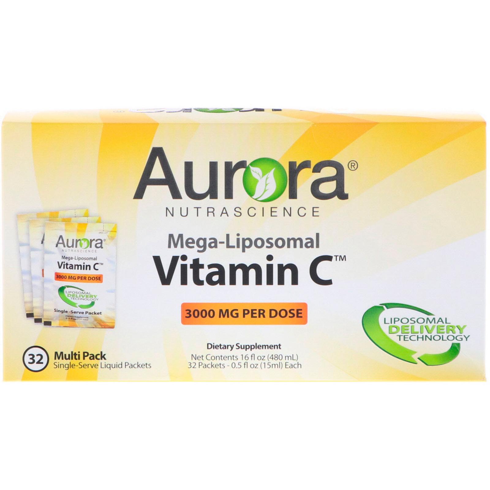 Aurora Nutrascience, Mega-Liposomal Vitamin C, 3000 mg, 32 Single-Serve  Liquid Packets, 0 5 fl oz (15 ml) Each