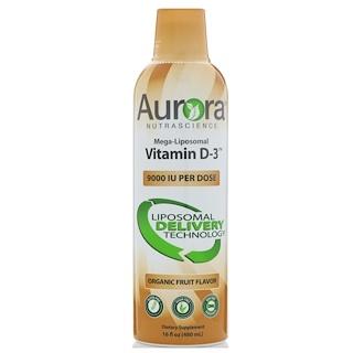 Aurora Nutrascience, メガリポソームビタミンD3、オーガニックフルーツフレーバー、9000 IU、16 fl oz (480 ml)