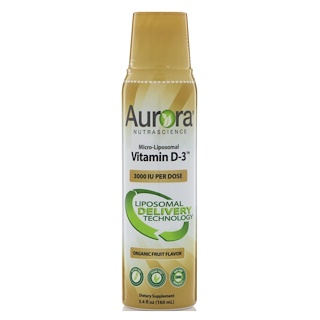 Aurora Nutrascience, マイクロリポソーム・ビタミンD3、3000 IU、5.4 fl oz (160 ml)