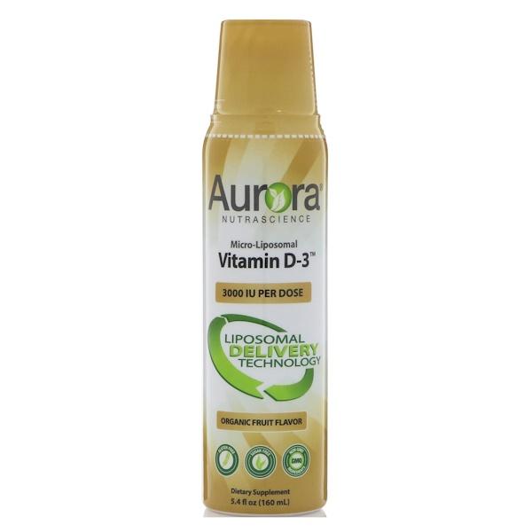 Aurora Nutrascience, 微脂質體維生素D3,3000 IU,5、4液量盎司(160毫升)