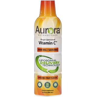 Aurora Nutrascience, Mega-LiposomalVitaminC, Sabor a frutas orgánicas, 3000mg, 480ml (16oz.líq.)