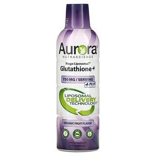 Aurora Nutrascience, Mega-LiposomalGlutathione+, Más vitaminaC, Sabor a frutas orgánicas, 750mg, 480ml (16oz.líq.)