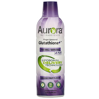 Aurora Nutrascience, Mega-Liposomal 谷胱甘肽 +,含維生素 C,有機水果味,750 毫克,16 盎司(480 毫升)