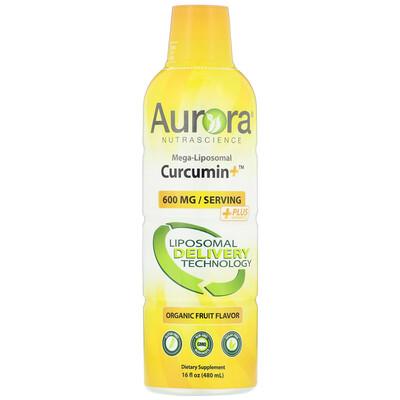 Купить Aurora Nutrascience Mega-Liposomal Curcumin+, Organic Fruit Flavor, 600 mg, 16 fl oz (480 ml)