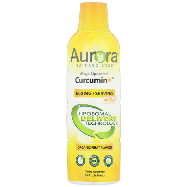 Mega-Liposomal Curcumin+, Organic Fruit Flavor, 600 mg, 16 fl oz (480 ml)