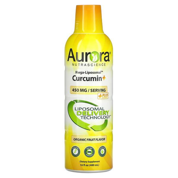 Aurora Nutrascience, Mega-Liposomal Curcumin+, мега липосомальный куркумин, со вкусом органических фруктов, 600мг, 480мл (16жидк.унций)
