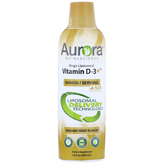 Aurora Nutrascience, Mega-Liposomal Vitamin D3+, Organic Fruit Flavor, 9,000 IU, 16 fl oz (480 ml)
