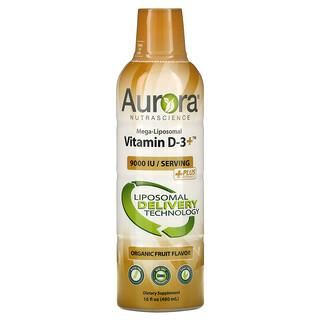 Aurora Nutrascience, Mega-Liposomal Vitamin D3+، بنكهة الفواكه العضوية، 9,000 وحدة دولية، 16 أونصة سائلة (480 مل)