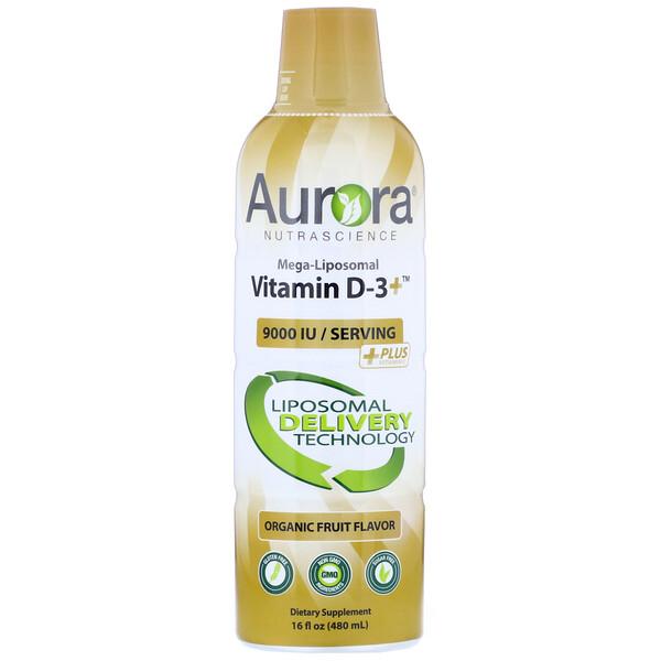 Aurora Nutrascience, Mega-Lipoomal 維生素 D3,有機水果味,9,000 國際單位,16 液量盎司(480 毫升)