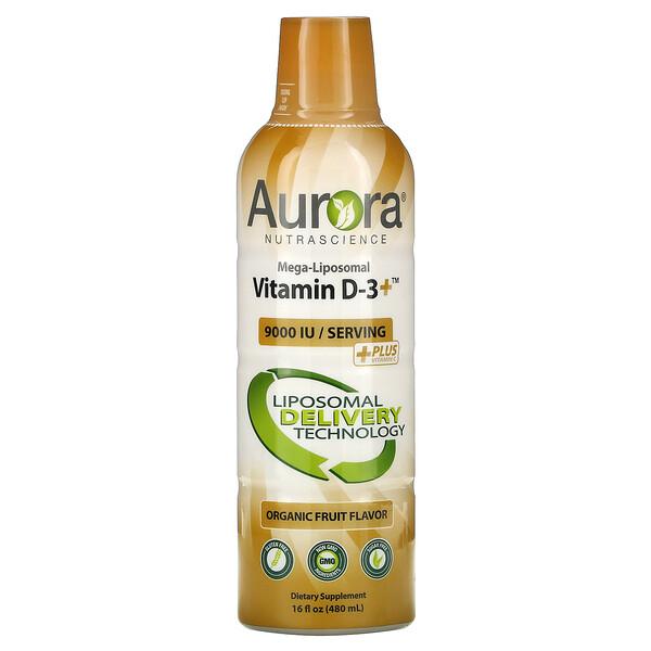 Mega-Liposomal Vitamin D3+, Organic Fruit, 9,000 IU, 16 fl oz (480 ml)