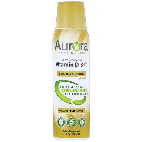 Micro-Liposomal Vitamin D-3+, Organic Fruit Flavor, 3,000 IU, 5.4 fl oz (160 ml)