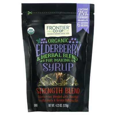 Frontier Natural Products Organic Elderberry & Herbal Blend For Making Syrup, Strength Blend, 4.23 oz (120 g)