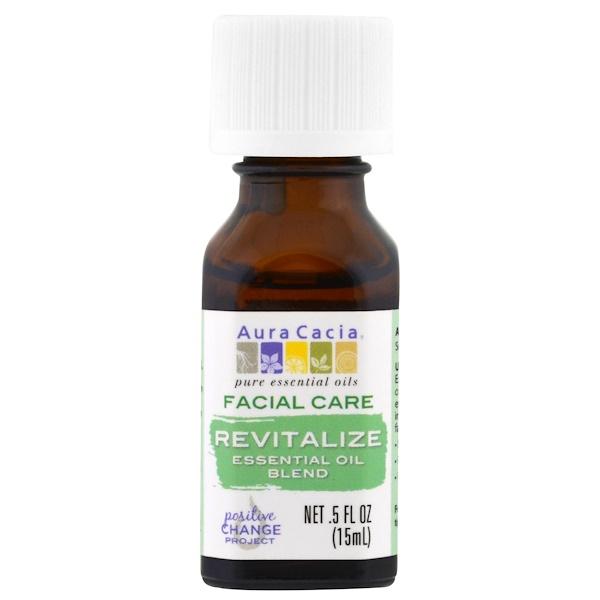 Aura Cacia, Facial Care, Essential Oil Blend, Revitalize, .5 fl oz (15 ml) (Discontinued Item)