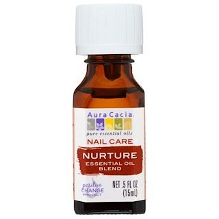 Aura Cacia, ネイル ケア、エッセンシャルオイル ブレンド、ナーチャー、0.5 fl oz (15 ml)